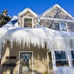 Home Covered By Ice Dam